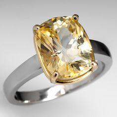 5.73 Carat Natural Yellow Sapphire Solitaire Engagement Ring 18K Gold & Platinum