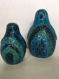 "Aldo Londi Bitossi Mom And Baby Penguin  6"" & 8"" Tall Mid-Century Modern #Bitossi"
