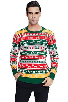 New RAISEVERN Unisex's Ugly Christmas Sweater Xmas Holiday Party Knitted Pullover. reindeer christmas jumper ($26.99)alltoenjoyshopping