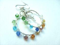 Lovely rainbow earrings. September 2013 Ongoing Pinterest Swap