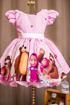 Masha and the Bear Dress at 2nd Birthday Party For Girl, Birthday Girl Pictures, Birthday Girl Dress, Bear Birthday, Birthday Dresses, Baby Girl Party Dresses, Girls Dresses, Marsha And The Bear, Very Beautiful Images