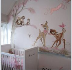 Im in LOVE! My dream wall for our Daughter! `Bambie room`
