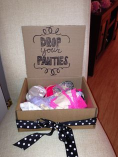Bachelorette party underwear game -- Everyone bring one pair, drops them in and bride had to guess who got her which ones.