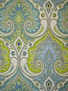 Latika Festival 915 - Colorful all over paisley medallion pattern. An Echo Design Fabric, linen print from Kravet Fabric. Textiles, Textile Patterns, Textile Design, Fabric Design, Pattern Design, Print Patterns, Sewing Patterns, Fabric Wallpaper, Of Wallpaper