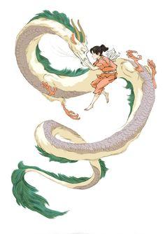 Jed Henry Illustration / Chihiro and Haku / Spirited Away: Studio Ghibli Films, Art Studio Ghibli, Ghibli Tattoo, Hayao Miyazaki, Totoro, Chihiro Y Haku, Drawn Art, Geek Art, Illustration