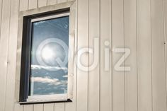 Qdiz Stock Photos   Window in plastic siding wall,  #background #building #cladding #color #construction #decoration #exterior #front #light #material #outdoors #outside #panel #plank #plastic #polymer #pvc #reflection #rows #side #siding #striped #stripes #Sun #surface #vertical #wall #window #yellow