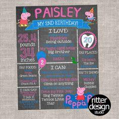 Peppa Pig Birthday Chalkboard Sign  Digital by RitterDesignStudio