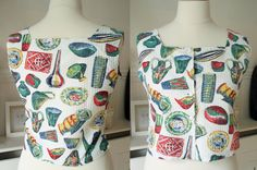 SZ 12 Novelty Ceramics Print Cotton Top 1950's . 1950's Top Size 14 . 1950's Novelty Print . Mid Century Top . Goodwood Revival . by…