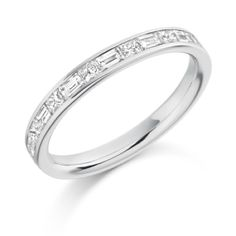 Alternate Princess Cut & Baguette Channel Set Half Eternity Ring 0.60ct