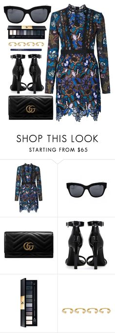 """Dinner Date"" by smartbuyglasses-uk ❤ liked on Polyvore featuring self-portrait, Dolce&Gabbana, Gucci, Yves Saint Laurent, Joanna Laura Constantine and Blue"