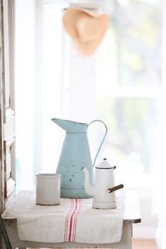 Vintage French Enamelware Coffee Pot