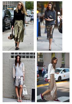 Металлизированная юбка в повседневных комплектах