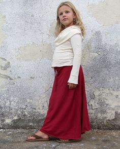 Girls - Long Simplicity Skirt  (light hemp Knit) organic kids clothing