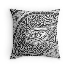 'Doodle Eye' Throw Pillow by PeopleInMyHead Doodles, Tapestry, Throw Pillows, Eyes, Stuff To Buy, Hanging Tapestry, Tapestries, Toss Pillows, Cushions
