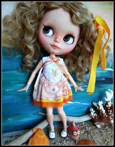 "BLYTHE DOLL Dress - OOAK - ""Oranges & Lemons""/Opaque design on layers of orange and yellow by CooeeChris on Etsy"