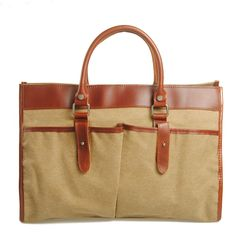 Genuine Cow Leather Men's leather bag canvas Bag/ leather canvas Briefcase / Messenger bag / 14' 15' MacBook Laptop bag (881-1) · Handmade L...
