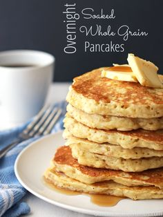 Delicious overnight whole grain pancakes, made with healthy soaked grains! An easy breakfast, that only takes a few minutes in the morning.