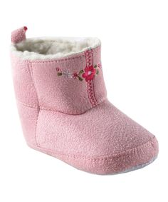 Look at this Luvable Friends Pink Embroidered Suede Booties - Infant on #zulily today!