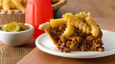 This family friendly, quick and easy pie is a fun twist on cheeseburger night!