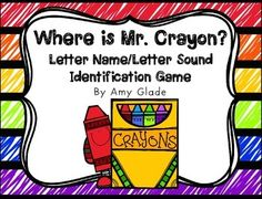 Freebie!  Pocket chart game: Mr. Crayon is hiding behind one of the crayon boxes. Students try to uncover him by naming the letters or sounds on the boxes. Also available in printer-friendly B&W version.