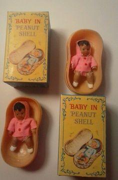 Vintage lot of 2 1970'S SHACKMAN Miniature Baby Doll in Peanut Shell  w box rare #Shackman #DollswithClothingAccessories