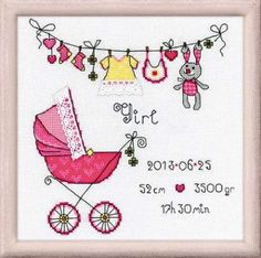 Riolis It's a Girl - Cross Stitch Kit. Complete kit includes 28 Ct. White Lugana, cotton floss, color chart, needle, and instructions. Finished size: 7 3/4 x 7