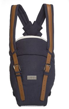 Budu Baby Carrier in navy bamboo fabric with tan leather. www.budu.com.au