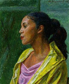 Alexandre Blanchet - Reymonde, 1958 - Huile sur toile, 61,5 x 50 cm. Art, Painting, Mona Lisa