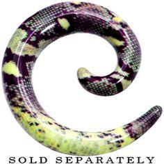 00 Gauge Green Snake Skin Acrylic Spiral Taper