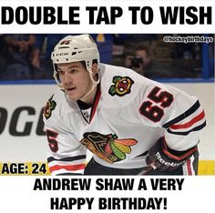 DOUBLE TAP TO WISH ANDREW SHAW A VERY HAPPY BIRTHDAY! Andrew Shaw, Hockey Baby, Very Happy Birthday, Chicago Blackhawks, Double Tap, Wish, Baseball Cards