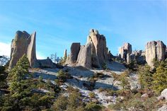 Monks Stone Sierra Tarahumara - known as the Valley of the Monks in the mountainous Sierra Madre Occidental, these rock formations are part of the canyon system Copper Canyon, Chihuahua.