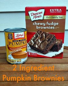 2 INGREDIENT PUMPKIN BROWNIES - http://4krecipes.com/2-ingredient-pumpkin-brownies/