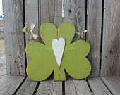 SHAMROCK with heart for St Patrick's Day Wood Sign Lucky wood block set with matching SHAMROCK home seasonal spring irish gift decor march