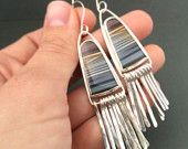 Zebra hickoryite earrings - dangly earrings - stone earrings - drop earrings