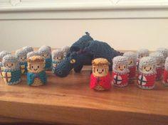 Crochet cork Knights and little fierce dragon from patterns by Lucy Ravenscar #crochet