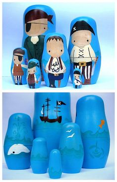 Piratey nesting dolls...okay these are really cute...I never liked these kind of dolls..but these are really adorable