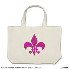 Mosaic pattern of fleur-de-lis(Lilly size/large) Large Tote Bag