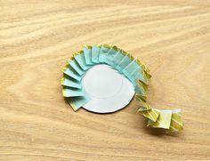 先ほど用意した、直径5cmの厚紙に貼り付けていきます。この時、中に描いた小さな円に沿って貼ると、綺麗な円に仕上がりますよ。 Diy And Crafts, Paper Crafts, Star Decorations, Plates, Tableware, Handmade, Scrapbooking, Dress, Licence Plates