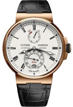 ULYSSE NARDIN - 1186-126/E0 18ct rose gold and leather Marine Chronometer watch | Selfridges.com