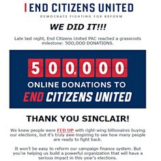 Citizens should band together for a WORTHY CAUSE! Find out more at:  http://endcitizensunited.org/