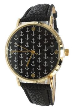 New Ladies Genuine Leather Gold Trim Anchor Nautical Watch Kate Spade $9.99