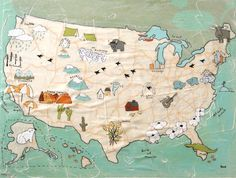Happy 4th! USA-Map by Rachel Austin