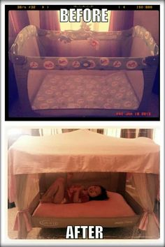 Such a good idea...turn a playpen into a canopy bed :)