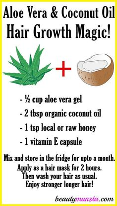 Did you know that you can use aloe vera and coconut oil for hair growth! Make a magical hair growth mix with them and see your hair flourish! Aloe vera and coconut oil are both powerful hair growth boosters. Aloe vera is made up of nutrients such as gluco Coconut Oil Hair Growth, Coconut Oil Hair Mask, Coconut Oil Hair Treatment, Coconut Oil Uses For Skin, Coconut Oil Beauty, Hair Remedies For Growth, Hair Growth Treatment, Hair Growth Mask, Hair Masks