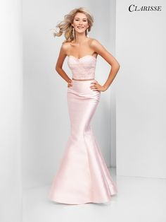 Clarisse - 3479 Two Piece Embellished Sweetheart Mermaid Dress Backless Mermaid Prom Dresses, Mermaid Prom Dresses Lace, Grad Dresses Long, Prom Dresses Two Piece, Pink Prom Dresses, Prom Dresses With Sleeves, Beautiful Prom Dresses, Mermaid Gown, Strapless Dress Formal