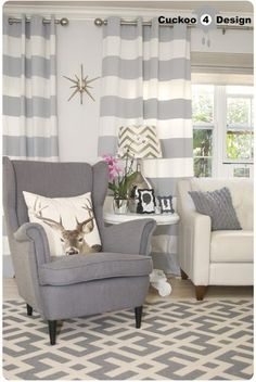 grey Ikea Strandmon Chair, Macy's Claudia Sofa, Overstock's Poolside Grey/Bone Indoor Outdoor Rug, DIY horizontal striped curtains