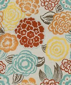 Groundworks Fabric - Nolita - Aqua/Rust $247.50 per yard #interiors #decor #design
