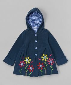 Look at this Navy Floral Hooded Fleece Jacket - Toddler