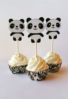 Panda Bear Party Cupcake Toppers by LorisCraftySpot on Etsy
