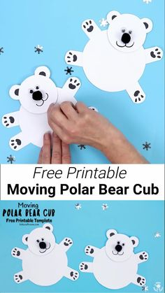 This Moving Polar Bear Cub craft is the cutest! Such a fun Winter craft for kids. It's easy to make with the free printable template. Cradle the polar bear craft in your hands and move its head from side to side to bring it to life. It's just darling! Winter Crafts For Kids, Winter Kids, Hand Crafts For Kids, Winter Crafts For Preschoolers, Winter Preschool Crafts, Children Crafts, January Crafts, Bear Cubs, Polar Bears